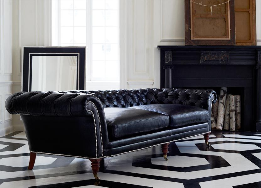 Ralph Lauren Brook Street Sofa Black Leather Upholstery. This Chesterfield  Sofa Is Masculine In Style