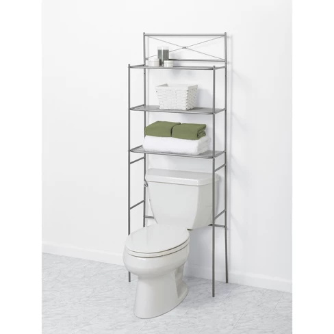Slat Style Over The Toilet Etagere Brushed Nickel Zenna Home