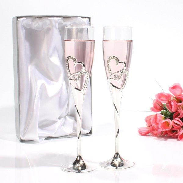 This Stunning Pair Of Champagne Gles With Crystal Hearts Makes A Wonderful Gift For Special