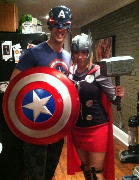 DIY Halloween lady Thor and Captain America costumes. A lot of fun. & DIY Halloween lady Thor and Captain America costumes. A lot of fun ...