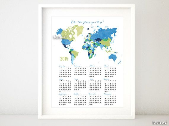 8x10 16x20 printable wall calendar for 2015 2015 printable items similar to or printable wall calendar for 2015 printable calendar gold world map gold glitter gold calendar pdf org on etsy gumiabroncs Gallery