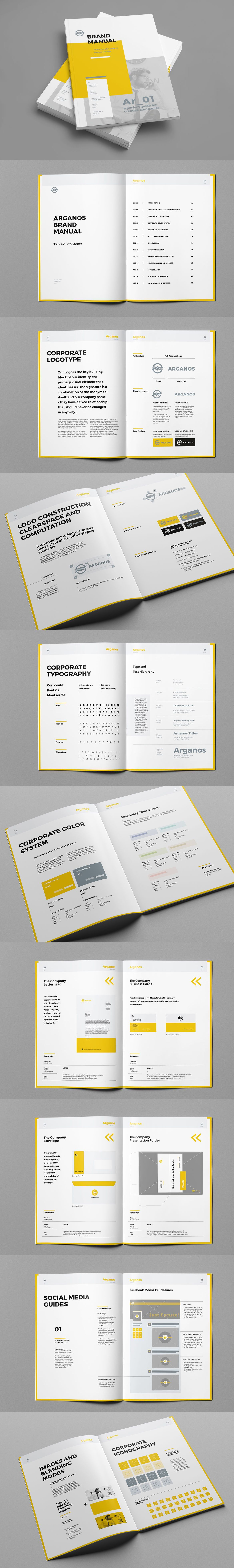 Brand Manual Template InDesign INDD - 48 Pages, A4 | GSM ...