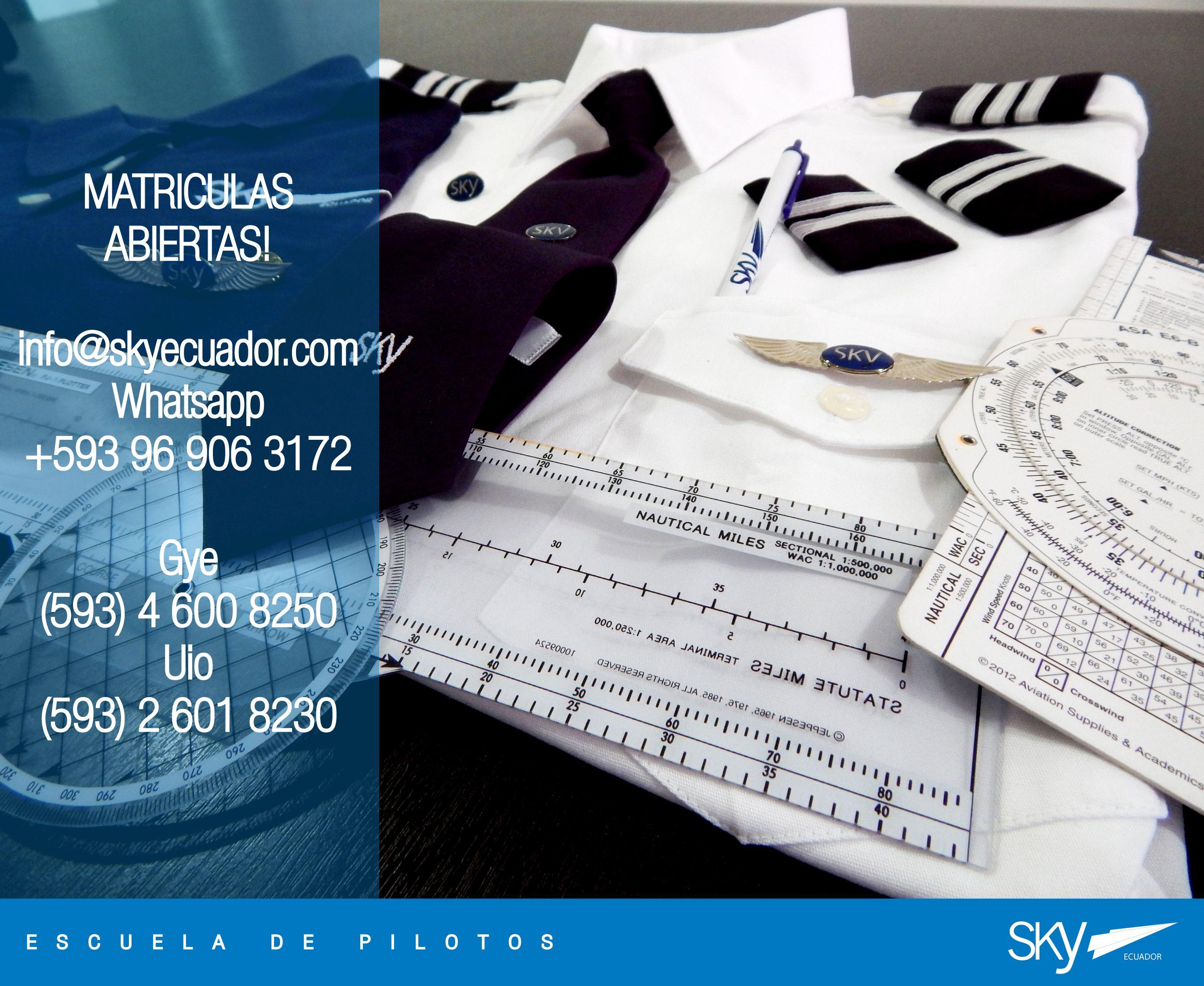 Muy buen #inicio de #semana para todos!  #lunes.  ! MATRÍCULAS ABIERTAS !   Fórmate como Piloto Comercial en #Ecuador !  Siguiente curso:  #Quito - NOVIEMBRE  #Guayaquil - OCTUBRE   Analiza nuestra experiencia, permisos, costos, nivel académico, flota, simuladores, facilidades, bases operativas, etc.  Para mayor información escríbenos a: info@skyecuador.com o mensajes WhatsApp 096 906 3172  Teléfonos:  02 601-8230 #Quito  04 600 8250 #Guayaquil   http://goo.gl/H7U4mN