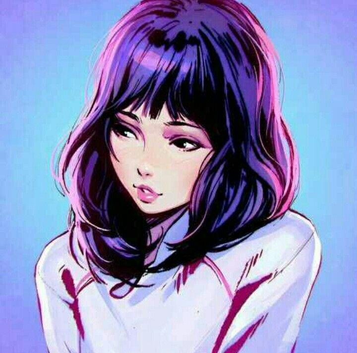 anime girl purple hair pretty