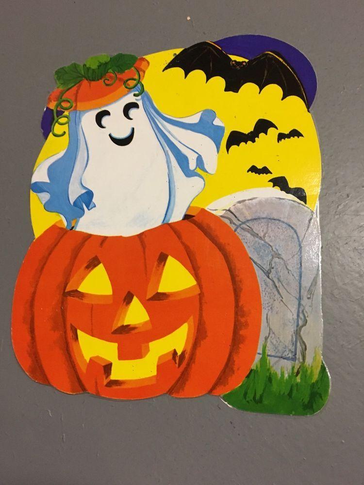 Vintage Halloween Decorations Paper Cardboard Die Cut Dennison Ghost In Jack