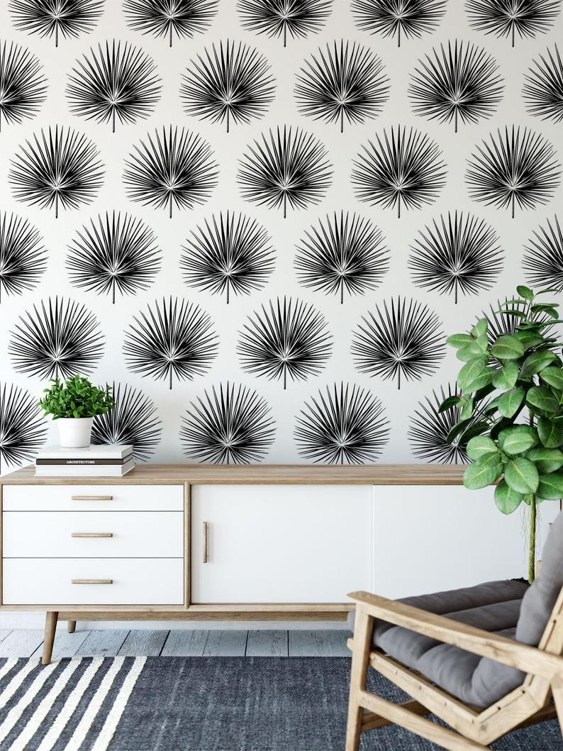 Tropical Removable Wallpaper Modern Wallpaper Design Peel Etsy Modern Wallpaper Designs Removable Wallpaper Peel And Stick Wallpaper