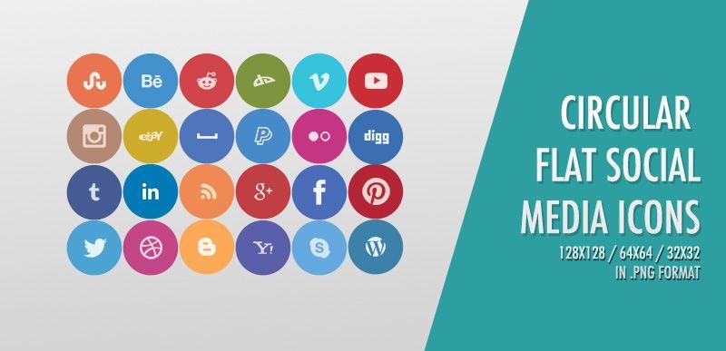 Freebie: 24 Free Circular Flat Social Media Icons