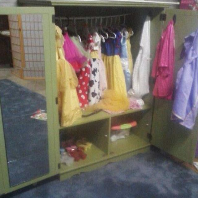 Old media cabinet to dress-up closet!