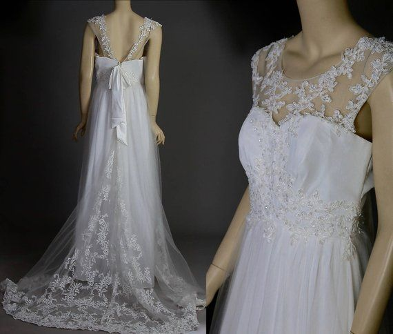 White sleeveless wedding dress Grecian draped sheer lace wedding gown Vintage 90s bridal dress L Large #grecianweddingdresses