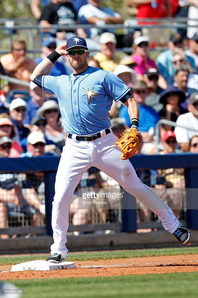 Logan Forsythe Of The Tampa Bay Rays Strikes Out Swinging During The Tampa Bay Rays Team Photos Mlb Spring Training