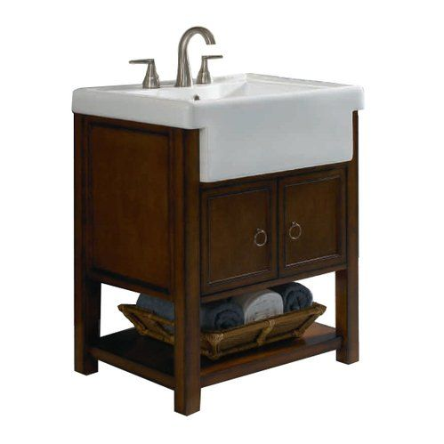 Allen Roth Sable Mitchell Bath Vanity With Farmhouse Sink Already Installed In Guest Bath Off