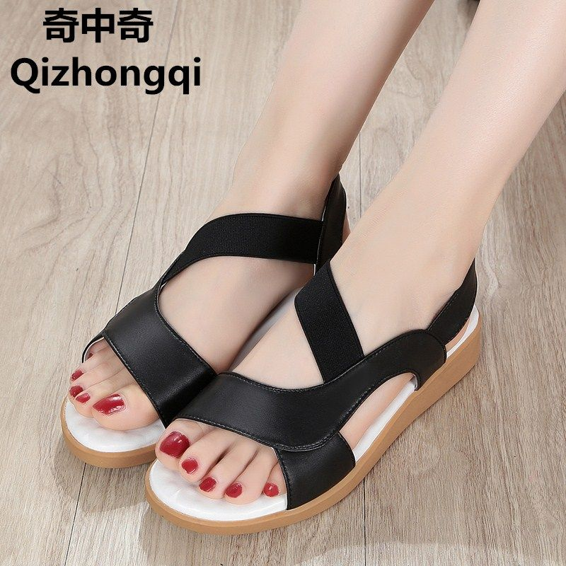 >> Click to Buy << Plus size 35-43 # sandals female 2017 new summer genuine leather women sandals flat with beach pregnant women shoes female #Affiliate
