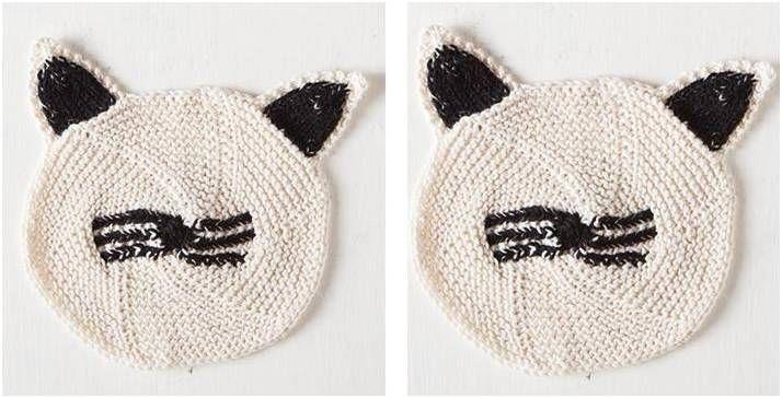 Cute Cat Face Knitted Dishcloth Free Knitting Pattern Knitting