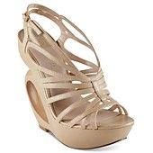 These are UNIQUE!!!    Camel color. Truth or Dare by Madonna Shoes, Moncrief Platform Wedge Sandals