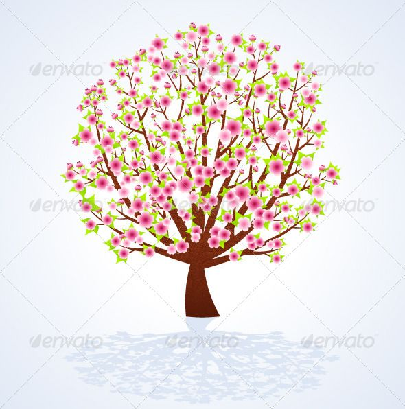 Cherry Blossom Tree Birch Tree Art Cherry Blossom Tree Cherry Blossom Painting
