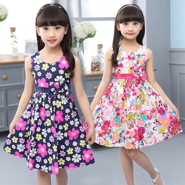 Printed Floral Bohemian Girl Dress Sleeveless Casual Summer Dresses Kids Clothes