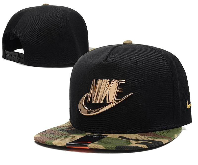 Mens Nike The Classic Nike Iron Gold Metal Logo A-Frame USA 2016 Best  Quality Fashion Leisure Snapback Cap - Black   Camo 201f048c0a6