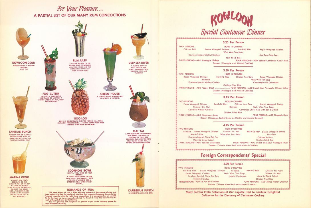 Kowloon 1959 A Standout Example Of A Chinese Restaurant In This Era The Venue Opened In 1950 With Two Full Pag Vintage Menu Restaurant History School Menu