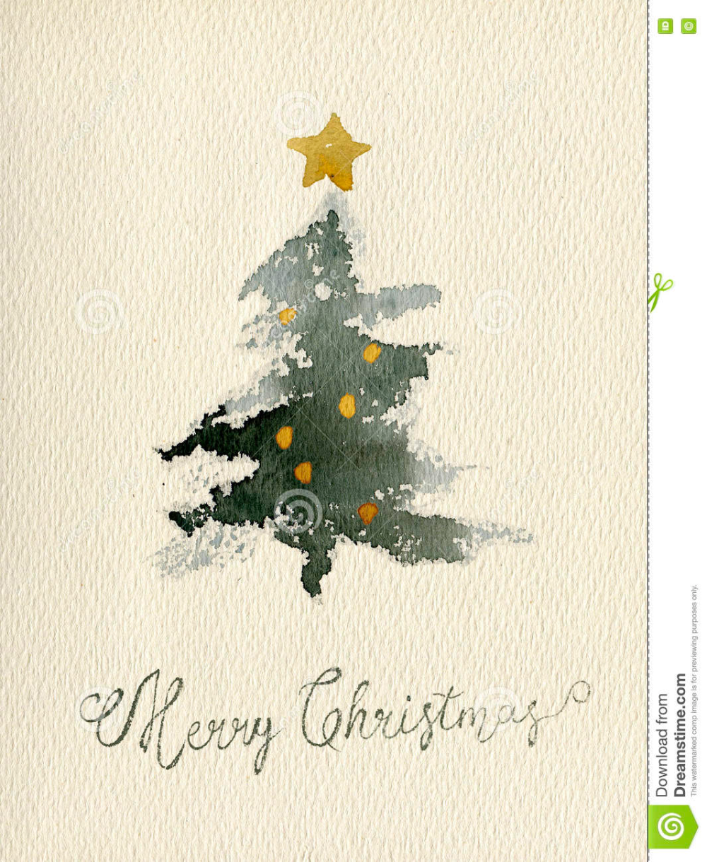 Christmas Watercolor Greeting Card_01 Stock Illust