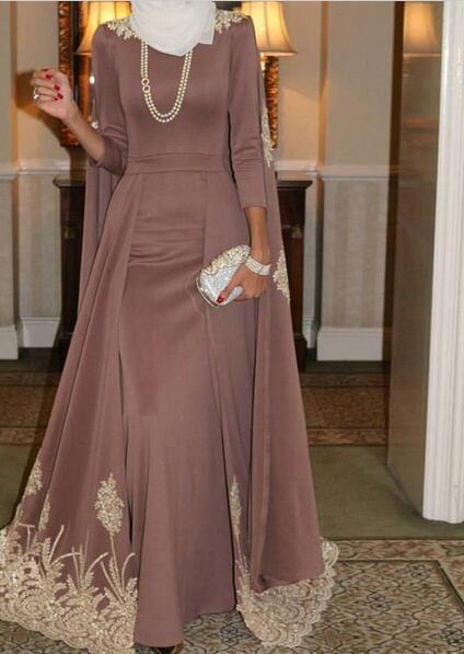 vestido longo de festa Beaded Lace Applique Floor Length Long Sleeve  Evening Dress Indian Women Saree Prom Dresses Party Gown 4592d8705fec