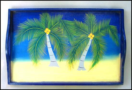 Wooden Tray Hand Painted Serving Tray Coconut Tree By