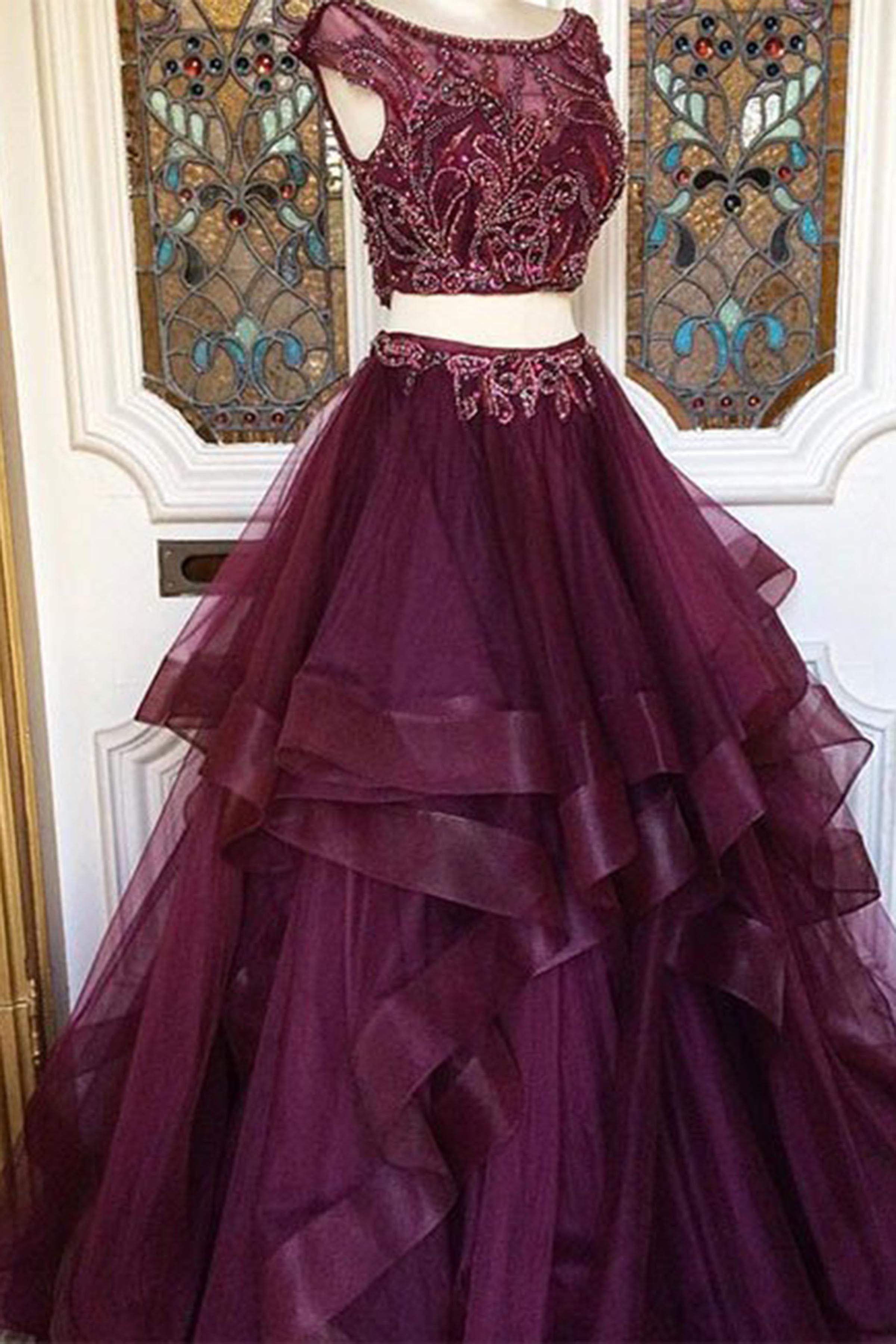 Burgundy Organza Prom Dress Two Piece Dress Prom Dresses For Teens Elegant Prom Dresses Evening Dresses Prom Cheap Prom Dresses Long [ 3600 x 2400 Pixel ]