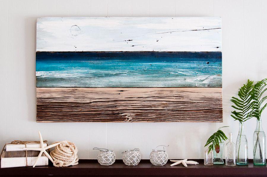 Ocean Inspired Original Painting Pallet Art Reclaimed Wood Art Wood Art