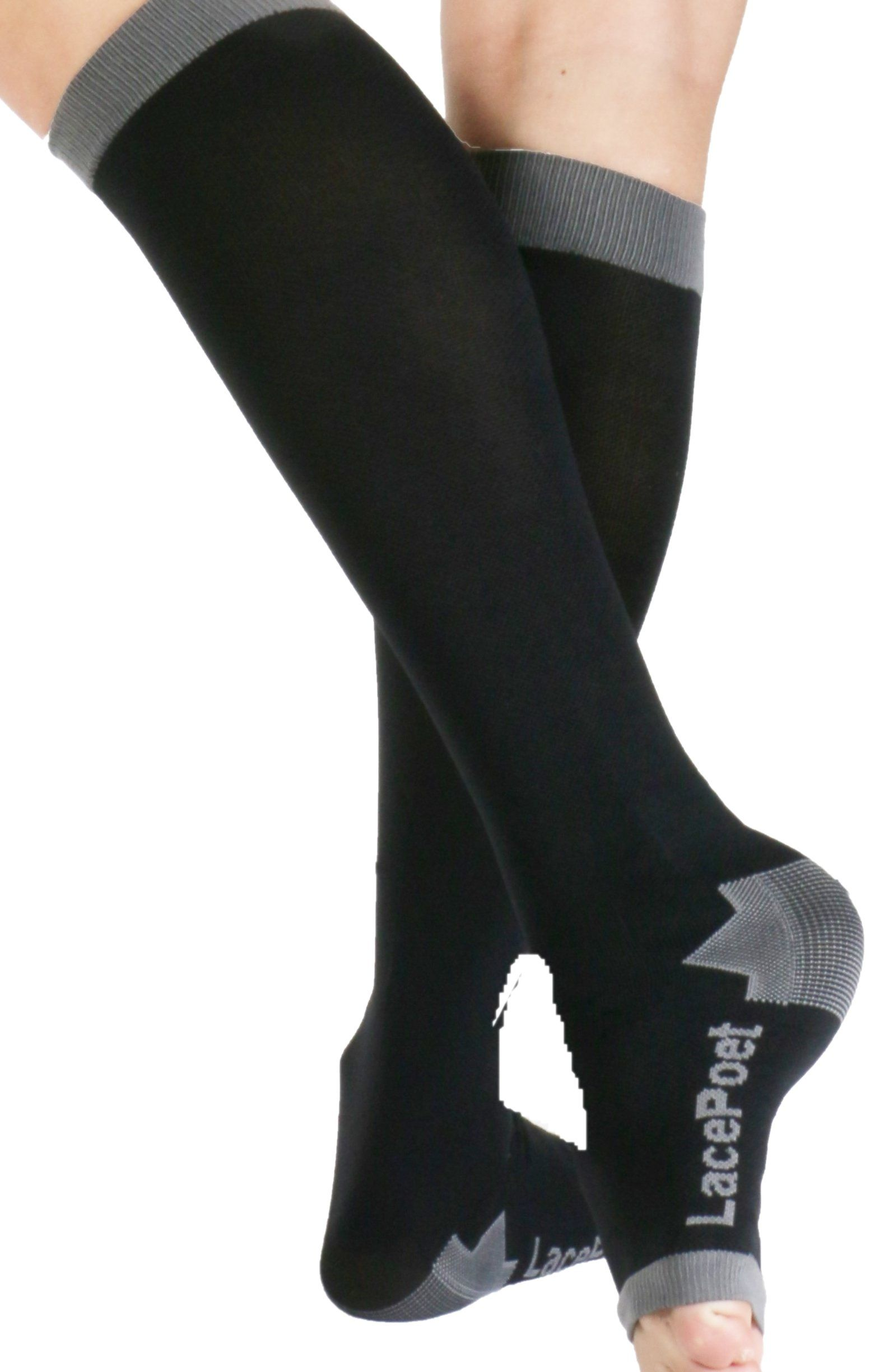 fc1016573c Lace Poet Knee-High Yoga/Sleep Compression Toeless Socks Black/Gray.  Material: Lycra and Nylon. Compression Level: 20-30 mmHg. Authentic Lace  Poet brand ...