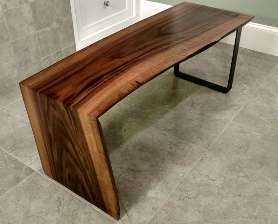 Curly Walnut Waterfall Live Edge Wood Slab Coffee Table Live