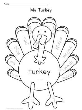 Thanksgiving Turkey Color Sheet | Thanksgiving, Turkey colors and ...