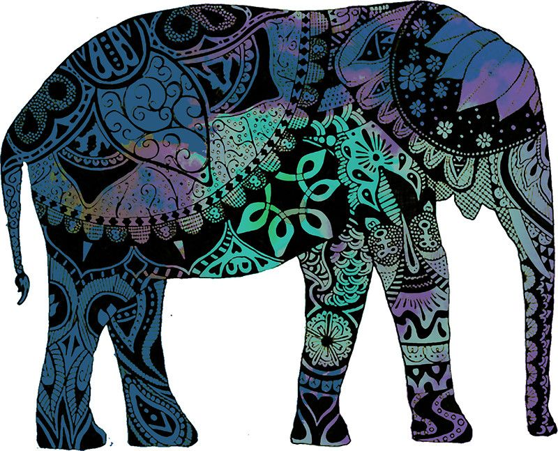 SELECT SIZE Elephant Beautiful Blue Henna Car Vinyl Sticker