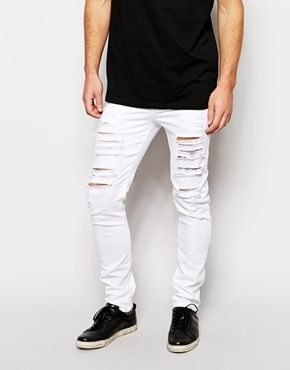 Ripped White Jeans For Men - Jon Jean