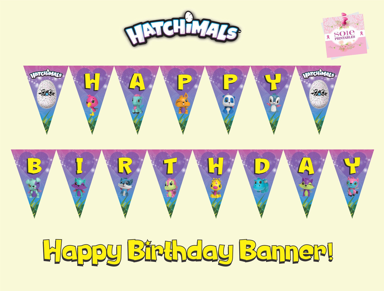 Hatchimals Colleggtibles Flag BannerHappy Birthday Banner