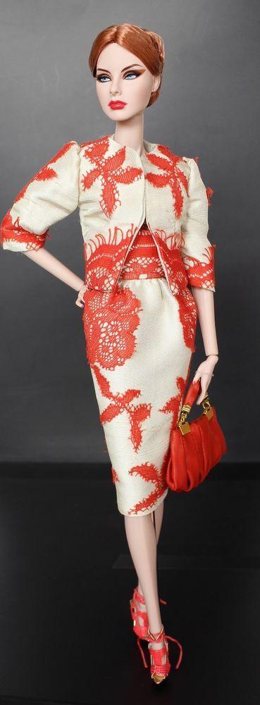 Galiana Designs Fashion Royalty doll Outfit FR2 orange lace jacket skirt bag