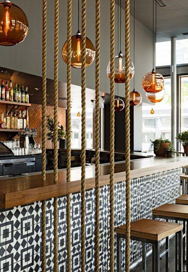 15 Simple Rope Wall For Room Dividers Bar Interior Restaurant Decor Bar Design Restaurant
