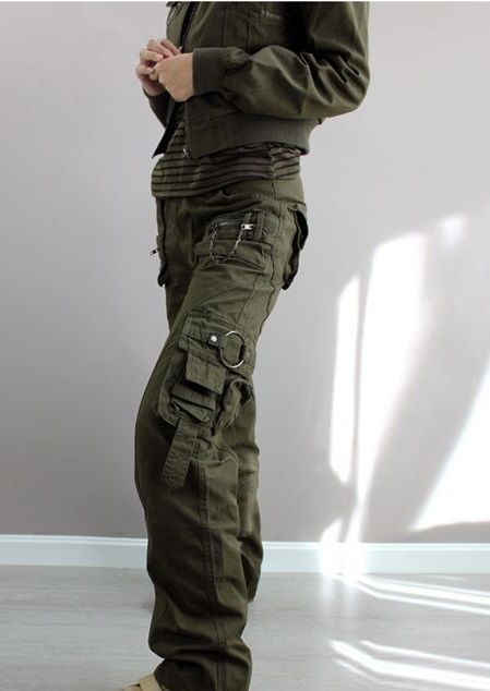 a9719c8f949 New 2014 plus size Army Green Denim fatigue cargo pants women s overall