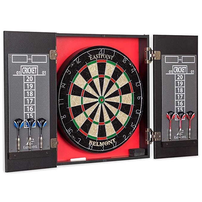 Amazon Com Eastpoint Sports Belmont Bristle Dartboard And Cabinet Set Features Easy Assembly Complete With All Accessorie Eastpoint Dartboards Dart Board