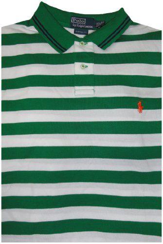 601ac2e638 Polo by Ralph Lauren Men's Short Sleeve Shirt Green and White Stripes, XXL  Short Sleeved Shirt. Green and White Striped with Orange Pony. 100% Cotton.