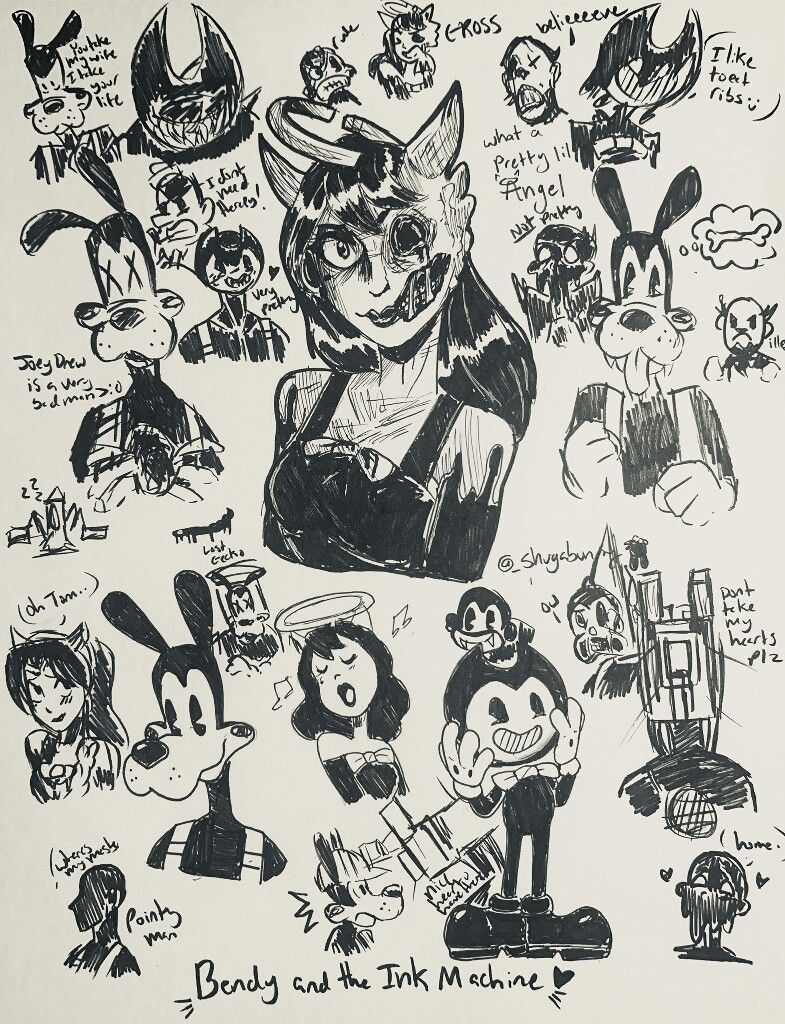 Pin By Bendy Falk On Bendy And The Ink Machine Bendy And The Ink Machine Tattoo Stencil Outline Sketches