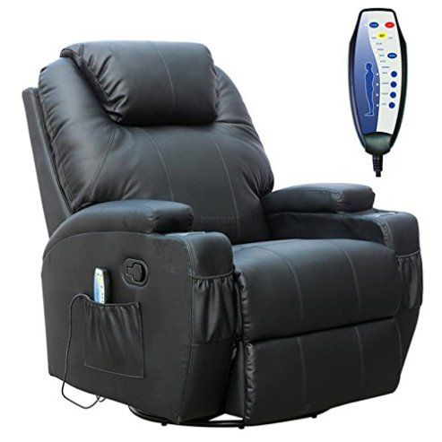 Foxhunter Black Bonded Leather Massage Cinema Recliner Armchair