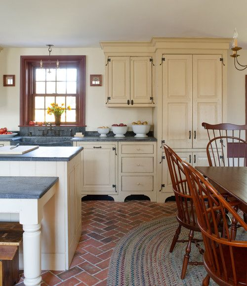 Red Flooring Kitchen: Country Kitchen In Red And Cream