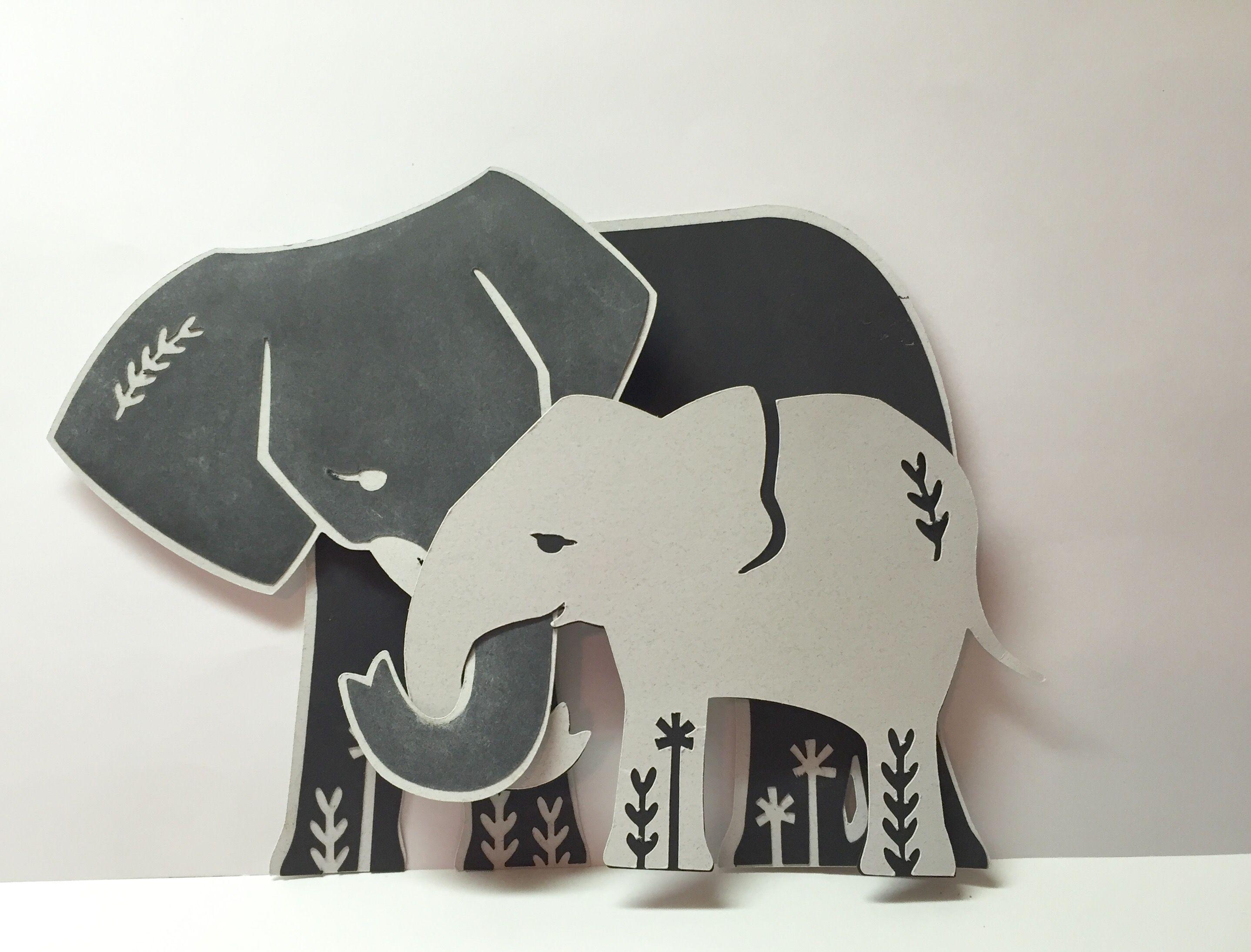 Elephant birthday card made on cricut design space cards i made