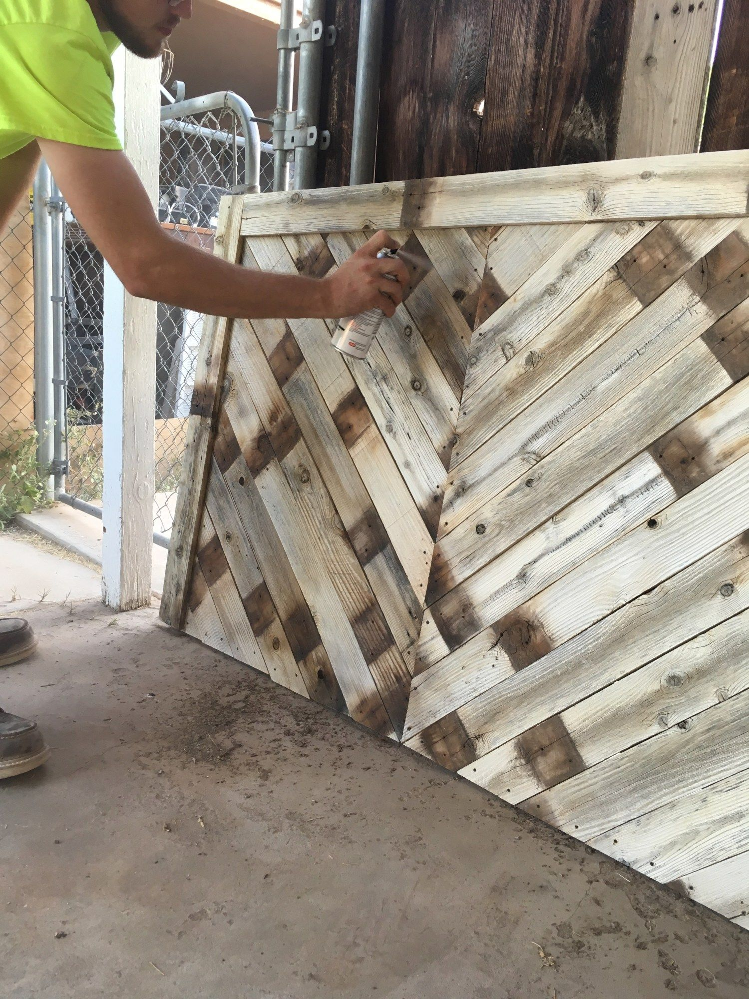 DIY Pallet Wood Herringbone Headboard images