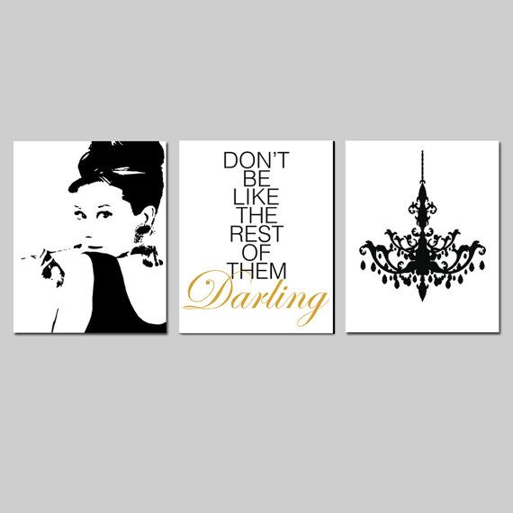 Black White Gold Bedroom Wall Decor Ideas For Bedroom Pinterest Bedroom Colors For Walls Bedroom Paint Ideas India: Black And Gold Girl Bedroom Art Audrey Hepburn Don't By