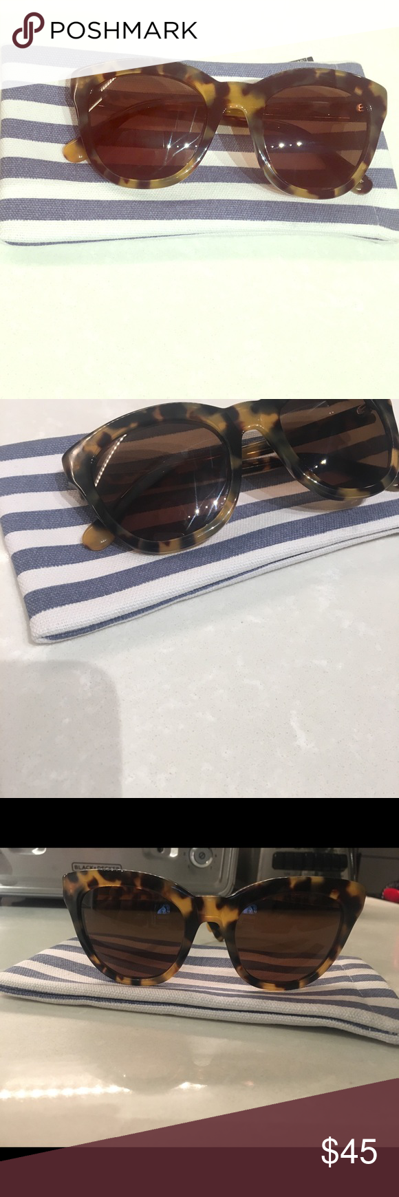 900693fb46 Jcrew Cabana Oversized sunglasses Brand new adorable J. Crew caramel tort Cabana  sunglasses. Comes with nautical blue and white stripe case.