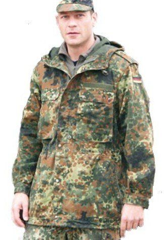 Fashion German Army Military Hooded Field Jacket Parka Coat Flecktarn Camo (Medium)
