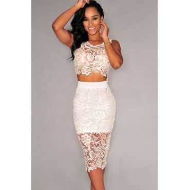 b2e8b1cc374 Cheap Sexy O Neck Tank Sleeveless Floral Lace Hollow-out White Polyester Two -piece Sheath Knee Lengt on Luulla