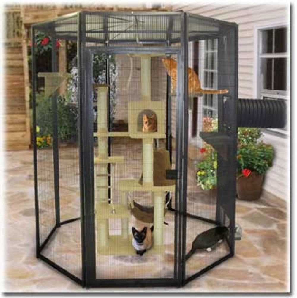 Here's a 6 feet tall SunCATcher cat cage with scratching
