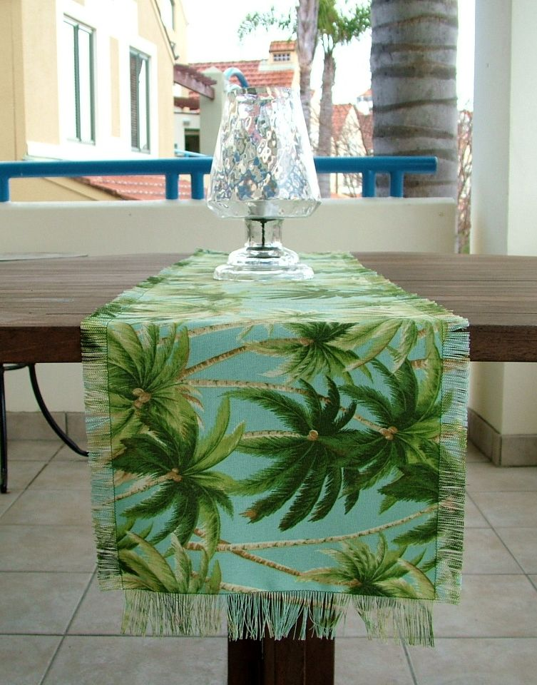 Palm Tree Table Runner Outdoor Table Runner Tommy Bahama Fabric 30 Cm X 140 Cm 12 X 55 Perdeler