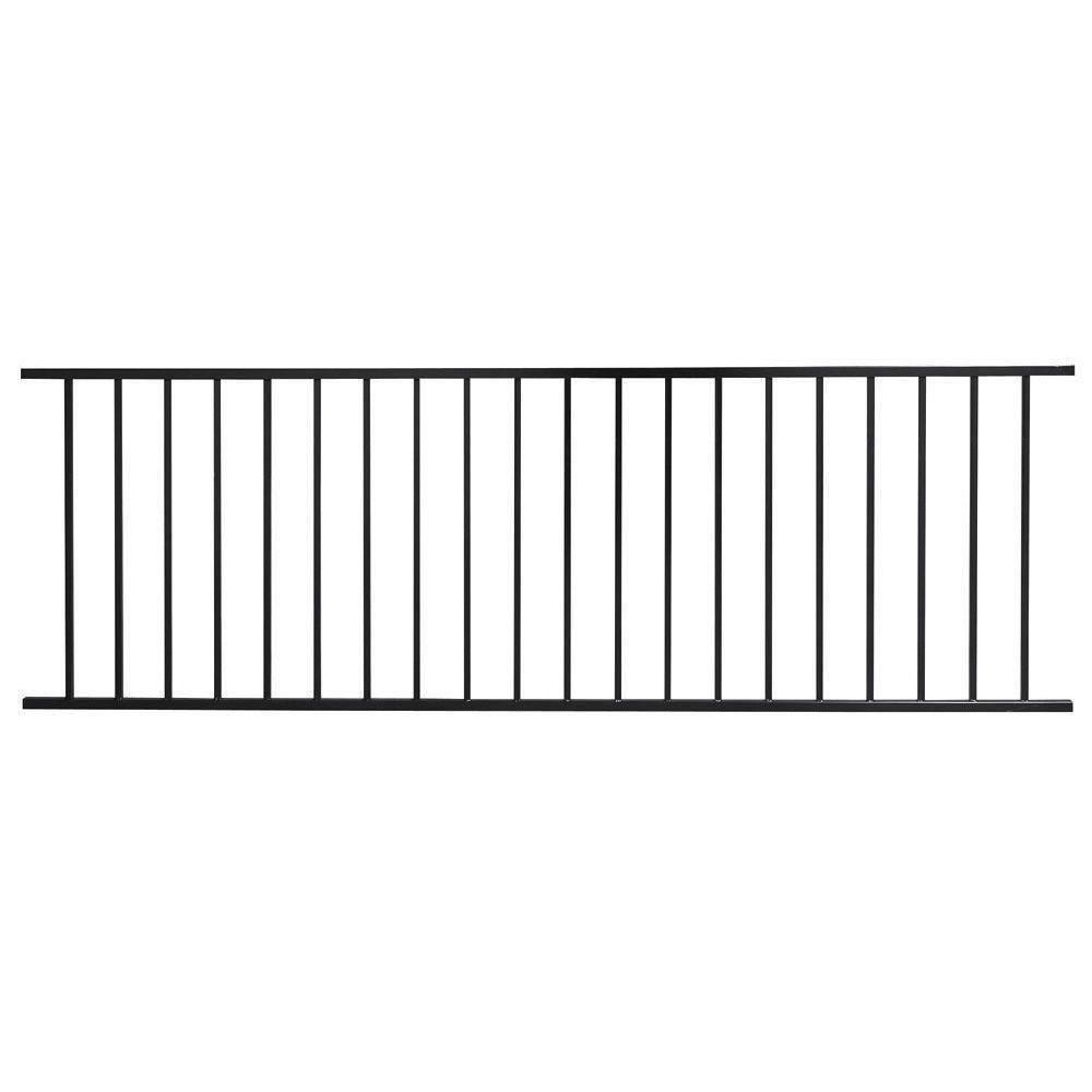 US Door & Fence Pro Series 2.67 ft. H x 7.75 ft. W Black Steel Fence ...